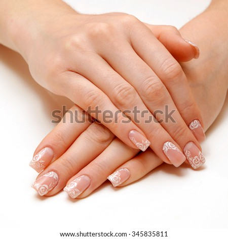 woman hands with beautiful fingernails