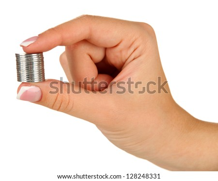 Woman hands with coins isolated on white - stock photo
