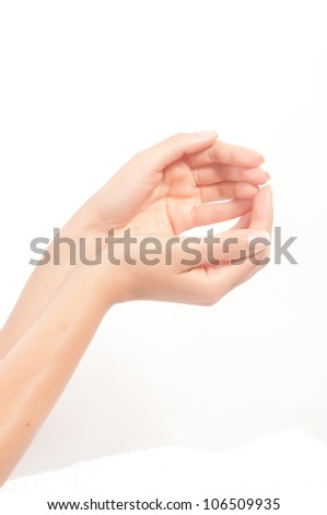 woman hands with french manicure isolated on white - stock photo