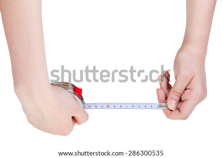 woman hands with measuring tape isolated on white background