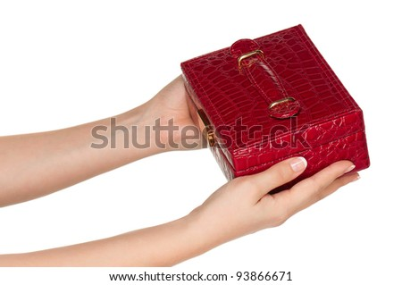 Woman hands with red box isolated on white background