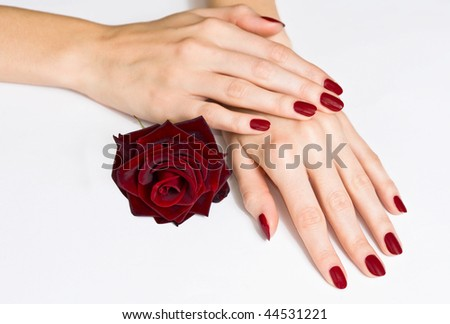 Woman hands with red manicure and rose