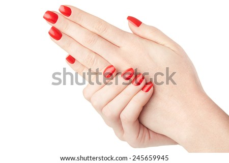 Woman hands with red nail polish manicure isolated on white, clipping path included - stock photo