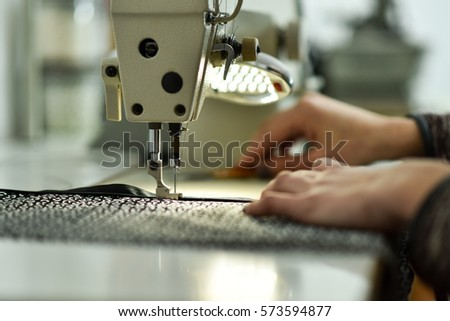 Woman Hands Working On Sewing Machine Stock Photo Royalty Free Unique Hands Free Sewing Machine