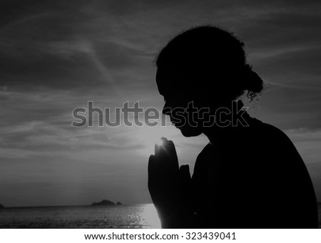 Woman Harmony Beach Tranquil Solitude Aspiration Concept - stock photo