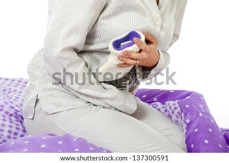 woman has abdominal pain - stock photo