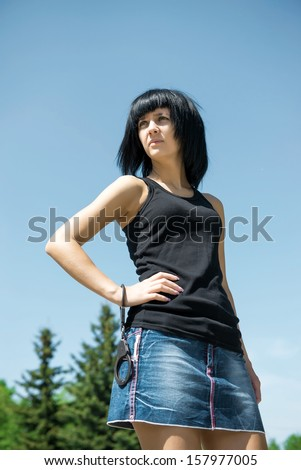 Woman has been arrested and handcuffed - stock photo