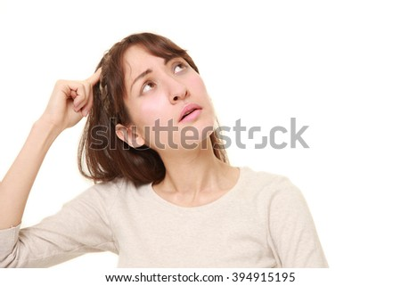 woman has lost her memory - stock photo