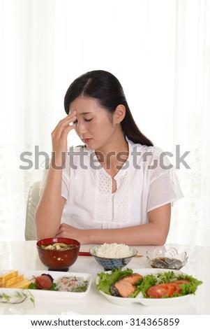 Woman has no appetite - stock photo