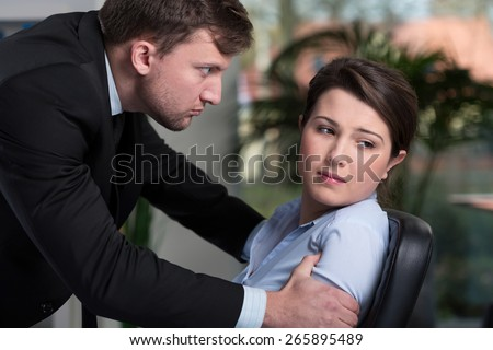 Woman has problems in the office, horizontal - stock photo