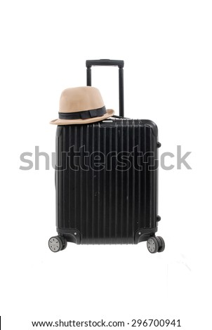 Woman hat,with luggage isolated   - stock photo
