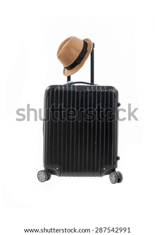 Woman hat,with luggage isolated on white background  - stock photo