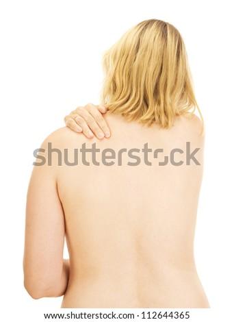 Woman having a backache - stock photo