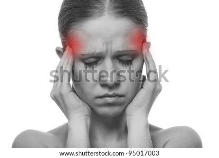 Woman having a migraine, isolated on white background, monochrome photo with red as a symbol for the hardening - stock photo