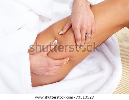 Woman having cellulite. Body care. - stock photo
