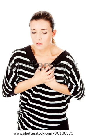 woman having chest pain, isolated on white background - stock photo