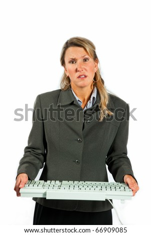 Woman having computer problems looking disrtessed - stock photo