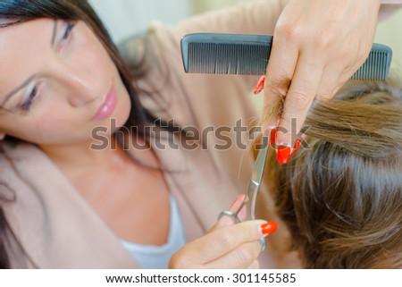 Woman having her hair cut - stock photo