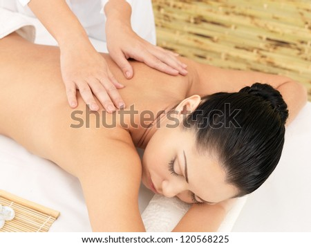 Woman having massage of body in the spa salon. Beauty treatment concept. - stock photo