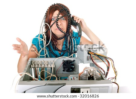 woman having problem with computer and calling hot line support - stock photo
