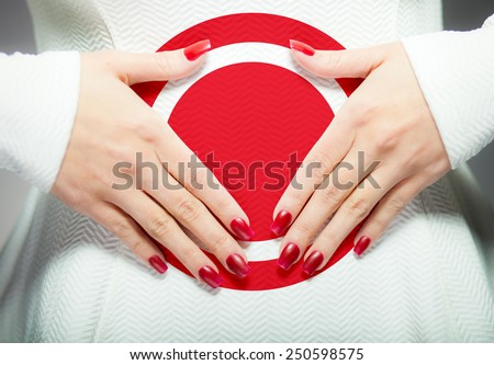Woman having stomach ache or menstrual pain - stock photo