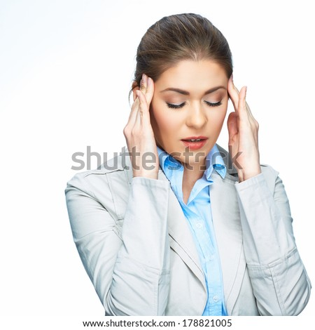 Woman headache portrait. White background. Isolated.