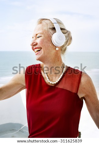 Woman Headphones Listening Music Lifestyle Concept - stock photo