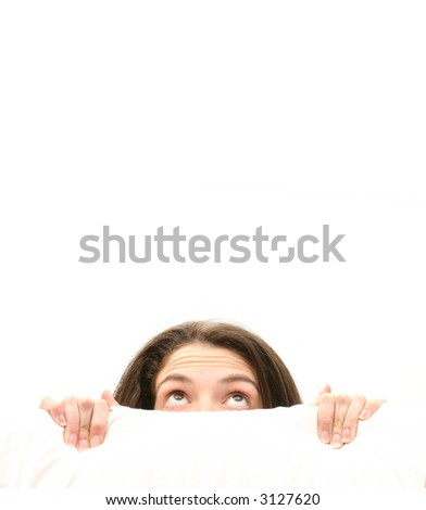 woman hiding behind a white screen - stock photo