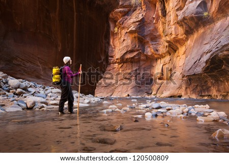 Woman Hiker Enjoying Spectacular Canyon View  (The Narrows in Zion National Park, Utah) - stock photo