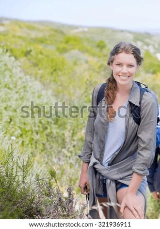 woman hiker hiking - stock photo