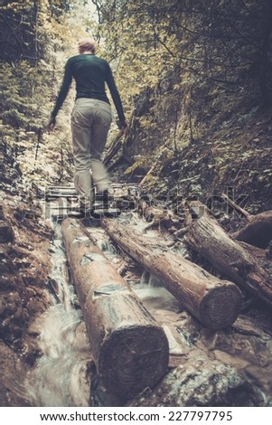 Woman hiker walking across river in a forest  - stock photo