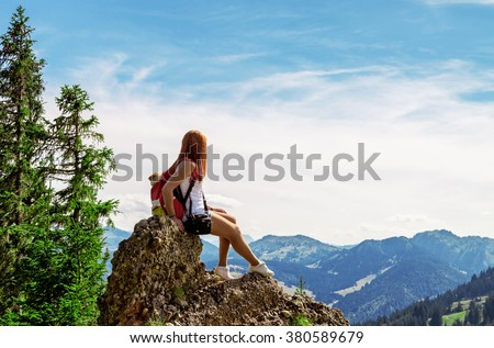 Woman hikers in the German Alps - stock photo