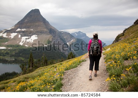 Woman Hiking Mountain Trail (Logan Pass, Glacier National Park)