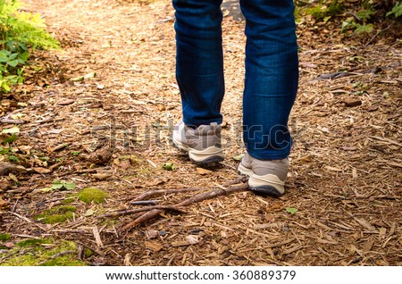 Woman Hiking on a Forest Path