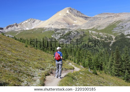 Woman Hiking on an an Alpine Trail in Jasper National Park - Alberta, Canada - stock photo