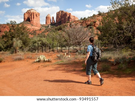 Woman Hiking to Cathedral Rock (Sedona, Arizona)