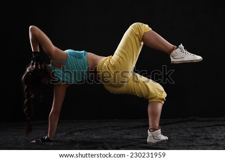 woman hip hop dancer - stock photo