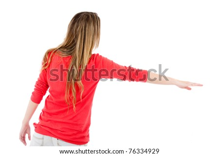 Woman hitch-hiking - isolated over a white background