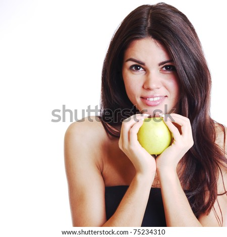 woman hold apple