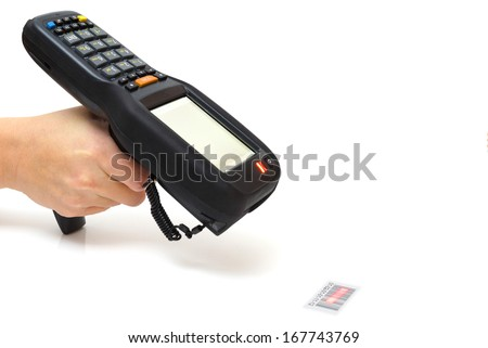 woman hold bar code scanner and scans  with laser - stock photo