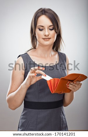 Woman hold business card.  Isolated portrait. Blank card . - stock photo