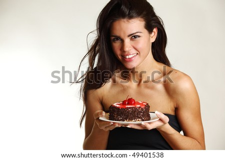 woman hold cake - stock photo