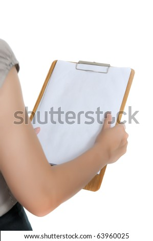 Woman hold clipboard isolated over white background. You can put your text on the paper - stock photo