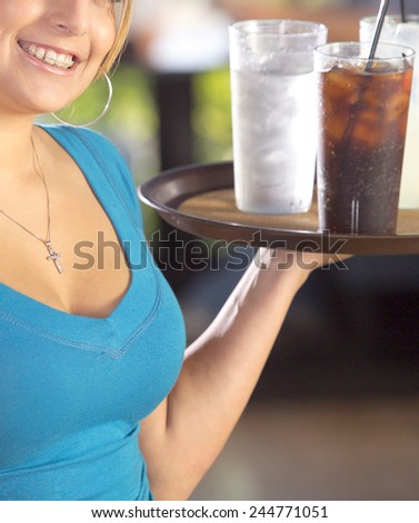 woman hold cocktails - stock photo