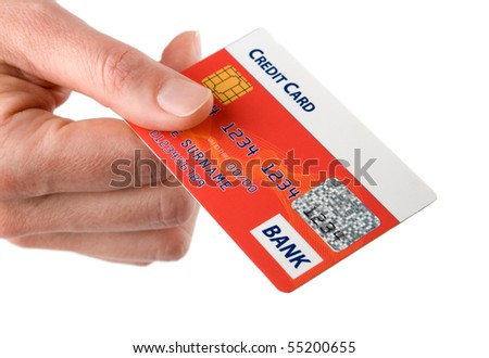 Woman hold credit card in her hand. Isolated on white background. - stock photo