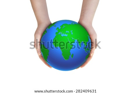 Woman hold globe on her hands. Earth planet in female hands on white background. - stock photo