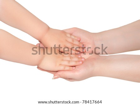 Woman hold hands of little child isolated - stock photo