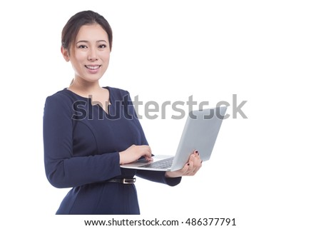 Woman hold laptop isolated on white background