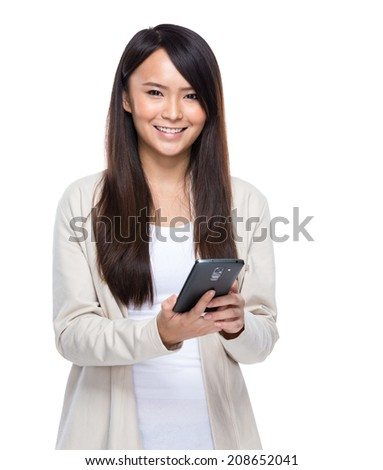Woman hold mobile phone