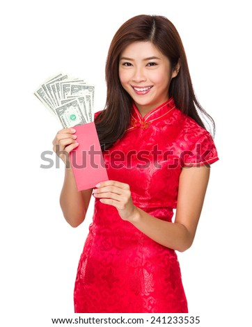 Woman hold red pocket money with USD